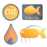 Uppsättning för logo för Eco fiskolja, tecknad filmstil royaltyfri illustrationer