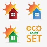 Uppsättning för logo för Eco hussymbol Royaltyfri Bild