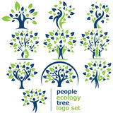 Uppsättning för logo för folkekologiträd Arkivfoto