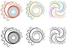 Uppsättning för logo för kugghjulhjul Arkivbild
