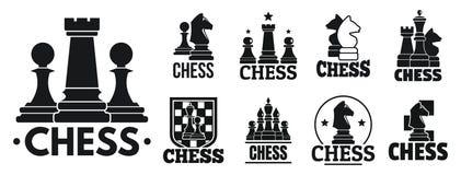 Uppsättning för logo för schacklek, enkel stil stock illustrationer