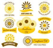 Uppsättning för logo för solrosolja Royaltyfri Foto