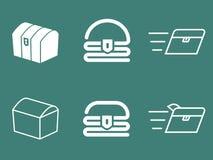 Uppsättning för logo för vektor för skattbröstkorg Arkivbilder