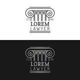 Uppsättning för logoer för lagkontor Vektortappningadvokaten, förkämpeetiketter, den juridiska firman förser med märke Handling p stock illustrationer