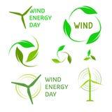 Uppsättning för logoer för vindenergi Grön logosamling Arkivbild