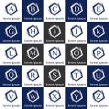 Uppsättning för logovektormall Stilfull pentagrammonogramsamling Arkivbild