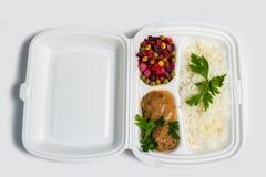 Uppsättning för lunchask Disponibel plast- lunchask En vit matask, lunch, snabbmat som isoleras på vit bakgrund royaltyfria bilder