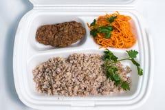 Uppsättning för lunchask Disponibel plast- lunchask En vit matask, lunch, snabbmat som isoleras på vit bakgrund royaltyfria foton