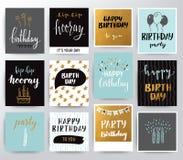 Uppsättning för lycklig födelsedag för vektor Vektor Illustrationer