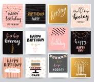 Uppsättning för lycklig födelsedag för vektor Stock Illustrationer