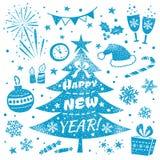 Uppsättning för lyckligt nytt år och för glad jul design Dekorativa beståndsdelar och symboler Arkivfoto