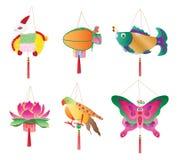 Uppsättning för lykta för månefestival traditionell stock illustrationer