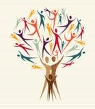 Uppsättning för mångfaldfolkträd Arkivbild