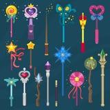 Uppsättning för magisk för pinne för trollstavvektor magisk för mirakel för fantasi för trollkarl för prinsessa för trollkarl ill vektor illustrationer