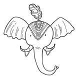 Uppsättning för Maharaja Arbeta i trädgården Elefant Färga sidan Arkivbilder