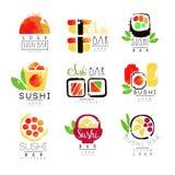 Uppsättning för mall för logo för sushistång, färgrika vattenfärgvektorillustrationer vektor illustrationer