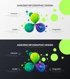 uppsättning för mall för illustration för vektor för 3 alternativanalytics Orientering för affärsdatadesign Infographic packe för vektor illustrationer
