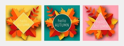 Uppsättning för mall för kort för Hello hösthälsning Nedgångillustrationen med papper klippte röda och gula sidor för apelsinen, arkivbilder