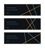 Uppsättning för mall för rengöringsdukbanerdesign som består av abstrakta bakgrunder som göras med blåa och gula kulöra slaglängd stock illustrationer
