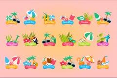Uppsättning för mall för sommarlopplogo, semester, paradis, ferie, illustrationer för vektor för strandtidetiketter stock illustrationer