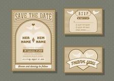 Uppsättning för mall för vektor för bröllopinbjudankort Royaltyfri Fotografi
