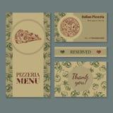 Uppsättning för mallar för företags identitet för pizzeria Arkivbilder
