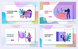Uppsättning för mallar för sida för landning för Website för tvätteriservice Man och kvinnliga tecken som laddar kläder för att t stock illustrationer