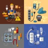 Uppsättning för man för yrkesmässig elektrisk elektricitetsenergi elektrisk vektor illustrationer