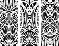 Uppsättning för maoristilprydnad royaltyfri illustrationer