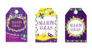 Uppsättning för Mardi Gras karnevaletiketter Etikettsamlingen med fjädermaskeringen, bunting, pryder med pärlor Ferie i Newet Orl vektor illustrationer