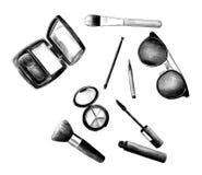 Uppsättning för mascara för ögonskugga för rodnad för borstar för makeup för skönhetsmedel för kvinna` s Arkivfoton