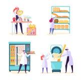 Uppsättning för maskin för bagerifabrikslivsmedelsproduktion Panera utrustningsamlingen för baka bransch med folkarbetarteckenet stock illustrationer