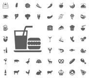 Uppsättning för mat- och drinkvektorsymbol stock illustrationer