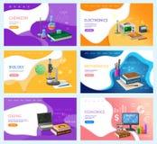 Uppsättning för matematikalgebra- och geometriwebbsidor stock illustrationer