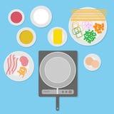 Uppsättning för matingredienser Förbered sig för att laga mat Stock Illustrationer