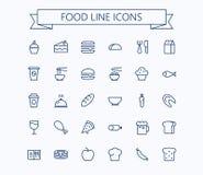 Uppsättning för matvektorminisymboler Tunn linje raster för översikt 24 x 24 Perfekt PIXEL Arkivfoto