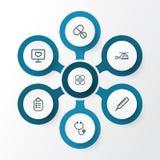 Uppsättning för medicinöversiktssymboler Samling av minnestavlor Arkivfoto