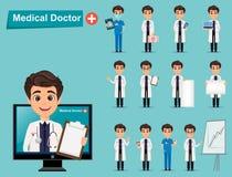 Uppsättning för medicinsk doktor Gulligt tecknad filmtecken stock illustrationer