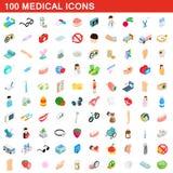 uppsättning för 100 medicinsk symboler, isometrisk stil 3d royaltyfri illustrationer