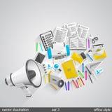 Uppsättning 3 för megafonkontorsstil Arkivfoto