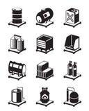 Uppsättning för metallbehållaresymbol Arkivbild