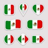 Uppsättning för Mexico flaggavektor Klistermärkesamling för mexicanska flaggor Isolerade geometriska symboler Emblem för nationel royaltyfri illustrationer