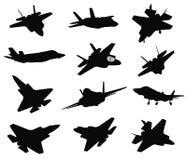 Uppsättning för 12 militära flygplan stock illustrationer