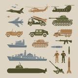 Uppsättning för militärfordonobjektsymboler, sidosikt Stock Illustrationer
