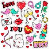 Uppsättning för modeförälskelseemblem med lappar, klistermärkear, kanter, hjärtor, kyss, läppstift i popet Art Comic Style vektor illustrationer