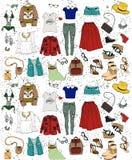 Uppsättning för modeillustrationkläder Arkivbilder