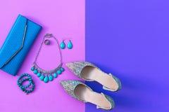 Uppsättning för modekvinnatillbehör Moderiktigt mode skor häl, stilfulla handväskakoppling-, halsband-, armband- och cirkel-, ros Arkivfoton