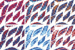 Uppsättning för modell för fjäderfågel sömlös Retro klotterstil Ändlös bakgrund för fjäder, textur, bakgrund vektor Royaltyfri Foto