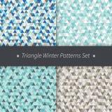 Uppsättning för modeller för triangelvinterferier Blått grå färger, sömlösa triangulära bakgrunder för brun vektor Royaltyfri Foto