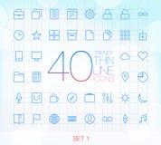 Uppsättning 1 för 40 moderiktig tunn symboler Fotografering för Bildbyråer
